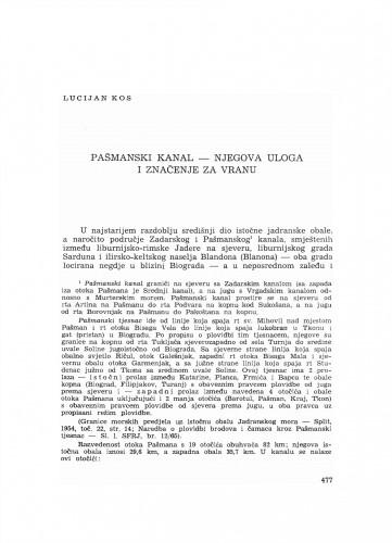 Pašmanski kanal - njegova uloga i značenje za Vranu