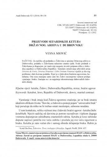 Prijevodi sefardskih ketuba Državnog arhiva u Dubrovniku : Anali Zavoda za povijesne znanosti Hrvatske akademije znanosti i umjetnosti u Dubrovniku