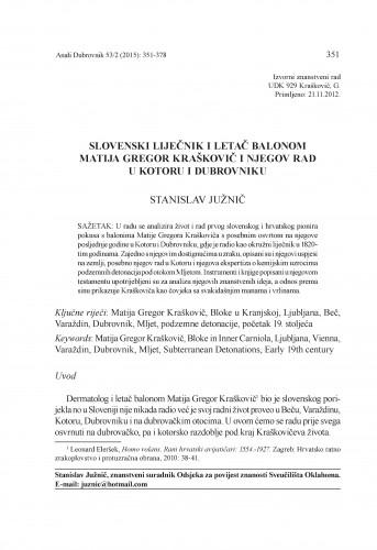 Slovenski liječnik i letač balonom Matija Gregor Kraškovič i njegov rad u Kotoru i Dubrovniku / Stanislav Južnič