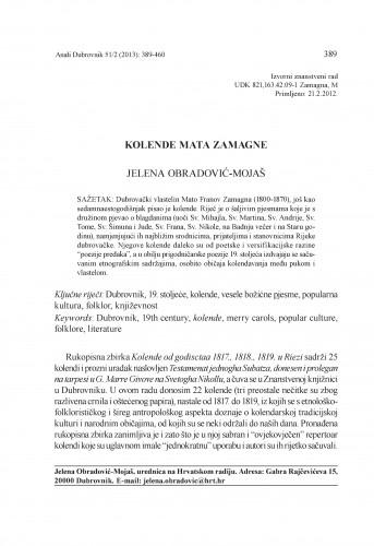 Kolende Mata Zamagne : Anali Zavoda za povijesne znanosti Hrvatske akademije znanosti i umjetnosti u Dubrovniku