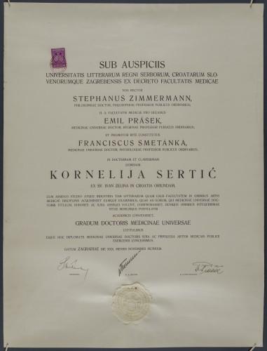 Diploma doktorice medicine Kornelije Sertić