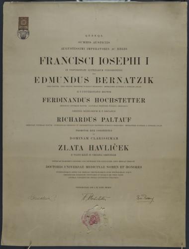 Diploma doktorice medicine Zlate Havliček