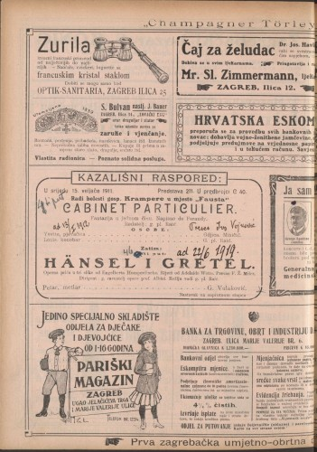 Cabinet particulier ; Hänsel i Gretel : Fantazija u jednom činu: Operna priča u tri slike