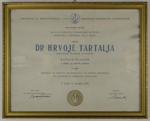 Povelja radnoga člana Odjela za pomorsku medicinu dr. Hrvoja Tartalje