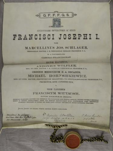 Diploma doktora medicine Franje Wittauscha