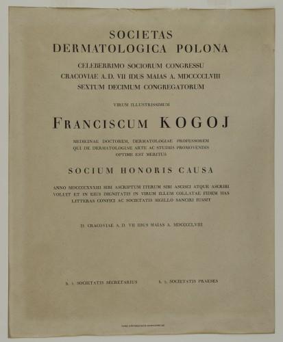 Povelja počasnog člana poljskog dermatološkog društva Franje Kogoja