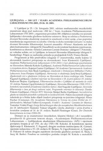Ljubljana - 300 let / Years Academia Philharmonica Labaciensium 1701-2001, 25.-26. 10. 2001.