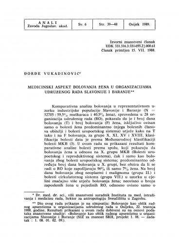 Medicinski aspekt bolovanja žena u organizacijama udruženog rada Slavonije i Baranje