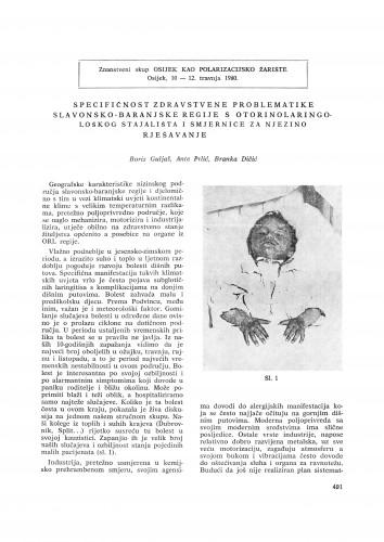 Specifičnost zdravstvene problematike slavonsko-baranjske regije s otorinolaringološkog stajališta i smjernice za njezino rješavanje