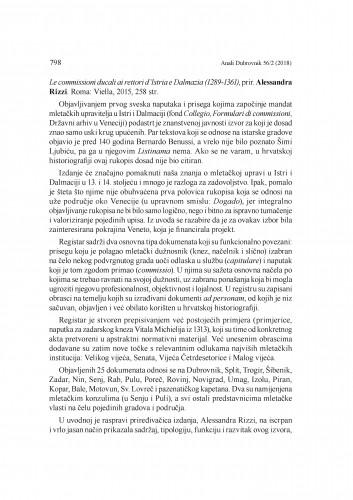 Le commissioni ducali ai rettori d'Istria e Dalmazia (1289-1361), prir. Alessandra Rizzi. Roma: Viella, 2015. : [prikaz] / Nella Lonza