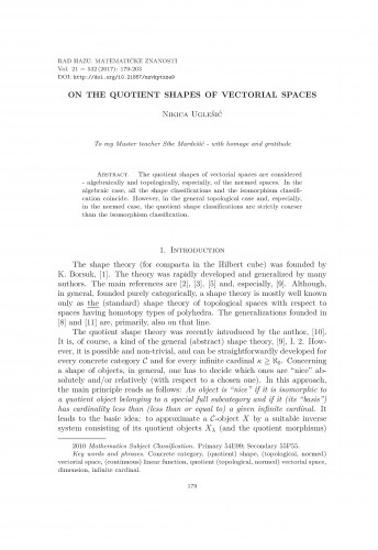 On the quotient shapes of vectorial spaces / Nikica Uglešić