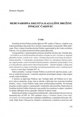 Međunarodna iskustva Kazališne družine Pinklec Čakovec
