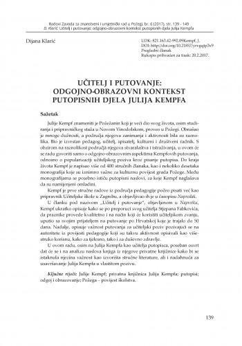 Učitelj i putovanje: odgojno‑obrazovni kontekst putopisnih djela Julija Kempfa / Dijana Klarić
