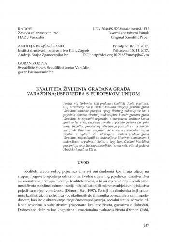 Kvaliteta življenja građana Grada Varaždina: usporedba s Europskom unijom