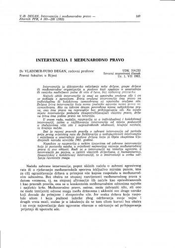 Intervencija i međunarodno pravo / Vladimir-Đuro Degan