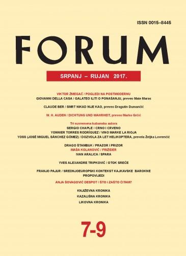 God. 56(2017), knj. 89, br. 7-9 (srpanj-rujan) : Forum : mjesečnik Razreda za književnost Hrvatske akademije znanosti i umjetnosti.