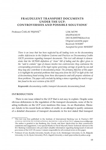 Fraudulent transport documents under the UCP: Controversies and possible solutions