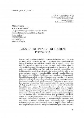 Sanskrtski i prakrtski korijeni romskoga / Mislav Ježić, Katarina Katavić