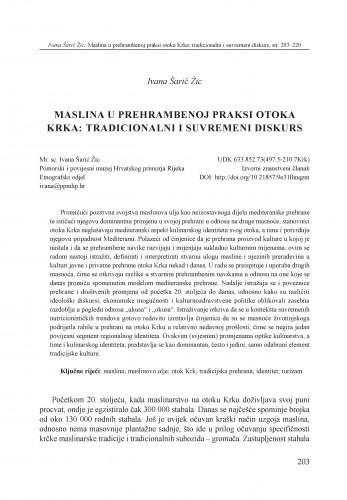 Maslina u prehrambenoj praksi otoka Krka: tradicionalni i suvremeni diskurs