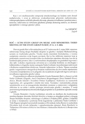 Roč - ICTM Study group on music and minorities: third meeting of the study group in Roč, 27. 8. 2004. : [izvješće]