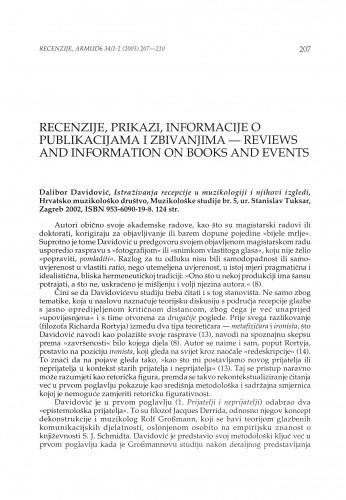 Dalibor Davidović, Istraživanja recepcije u muzikologiji i njihovi izgledi, Hrvatsko muzikološko društvo, Muzikološke studije br. 5