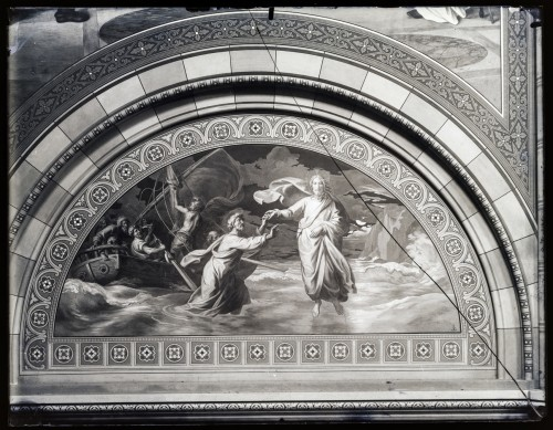 Overbeck, Johann Friedrich (1789)  ; Seitz, Ludovico - Ludwig (1844) : Katedrala sv. Petra (Đakovo) : Sveti Petar tone u more, freska u luneti na zidu transepta [C. Angerer & Göschl  ]