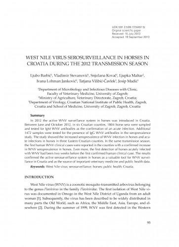 West Nile virus serosurveillance in horses in Croatia during the 2012 transmission season