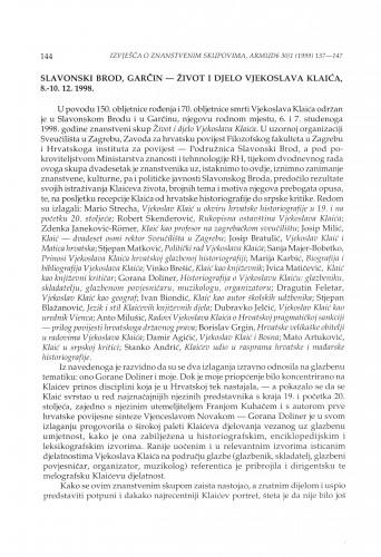 Život i djelo Vjekoslava Klaića : znanstveni skup, Slavonski Brod, Garčin, 8.-10.12.1998.