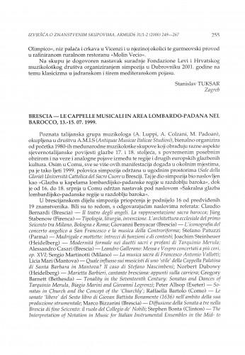 Le cappelle musicali in area lombardo-padana nel Barocco, Brescia, 13.-15.07.1999.