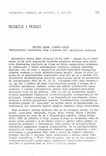 Krsto Odak (1888-1965). Medjunarodni znanstveni skup u povodu 100. obljetnice rodjenja