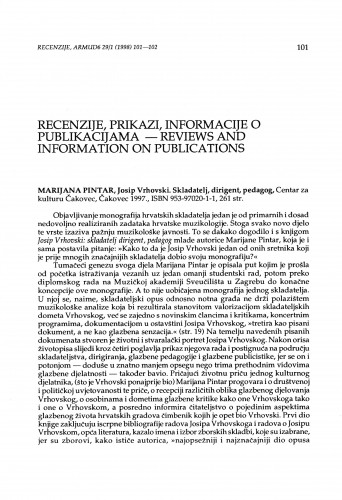 Pintar, Marijana: Josip Vrhovski : skladatelj, dirigent, pedagog, Čakovec, 1997.