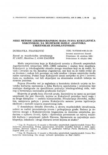 Neke metode leksikografskog rada Ivana Kukuljevića Sakcinskog na muzičkom dijelu
