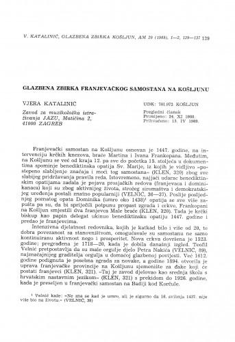 Glazbena zbirka franjevačkog samostana na Košljunu
