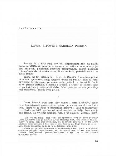 Lovro Sitović i narodna pjesma