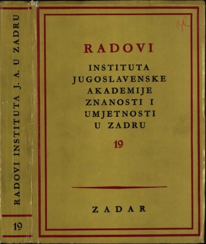 Sv. 19(1972) : Radovi Instituta Jugoslavenske akademije znanosti i umjetnosti u Zadru