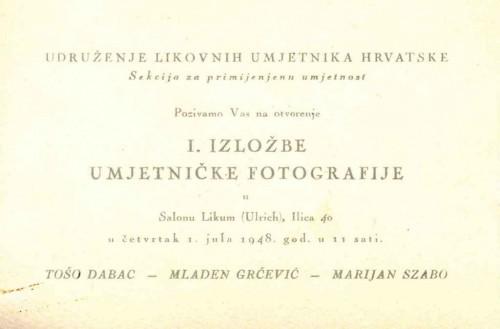 Pozivnica na I. izložbu umjetničke fotografije, Salon Likum, Zagreb, 1.7.1948.