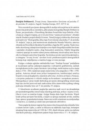 Danijela Doblanović, Žrvanj života. Stanovništvo Savičente od početka 17. do početka 19. stoljeća. Zagreb: Srednja Europa, 2017. : [prikaz] / Danijela Doblanović