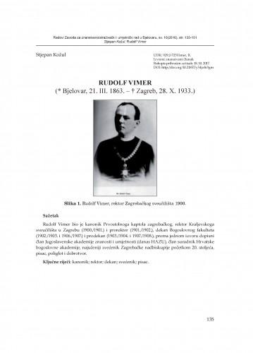 Rudolf Vimer : (* Bjelovar, 21. III. 1863. – † Zagreb, 28. X. 1933.)