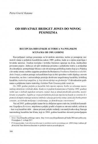 Od hrvatske Bridget Jones do novog pesimizma : recepcija hrvatskih autorica na poljskim scenama od 1989. godine
