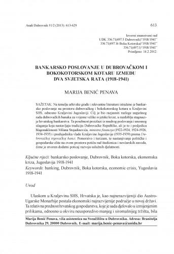Bankarsko poslovanje u dubrovačkom i bokokotorskom kotaru između dva svjetska rata (1918-1941) / Marija Benić Penava