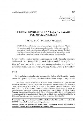 Utjecaj pomorskog kapitala na razvoj poluotoka Pelješca / Irena Ipšić, Jasenka Maslek