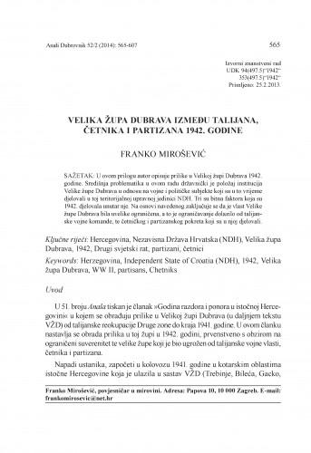 Velika župa Dubrava između Talijana, četnika i partizana 1942. godine / Franko Mirošević