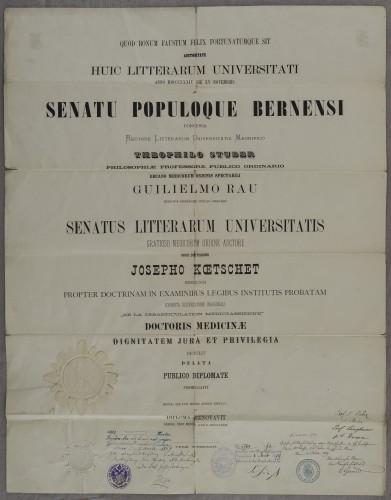 Diploma doktora medicine Josepha Koetscheta