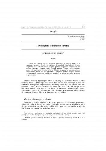 Teritorijalna suverenost države : Vladimir Đuro Degan - zbirka knjiga i članaka