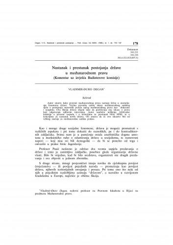 Nastanak i prestanak postojanja države (Komentar uz izvješća Badinterove komisije) : Vladimir Đuro Degan - zbirka knjiga i članaka