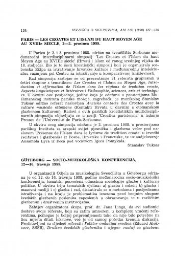 Paris - Les Croates et l'Islam du haut Moyen Age au XVIIIe siècle, 2-3. prosinca 1988.