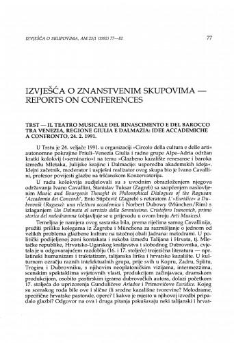 Il teatro musicale del Rinascimento e del Barocco tra Venezia, regione Giulia e Dalmazia: Idee accademiche a confronto, Trst, 24. 2. 1991.