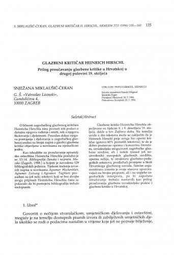 Glazbeni kritičar Heinrich Hirschl. Prilog proučavanju glazbene kritike u Hrvatskoj u drugoj polovini 19. stoljeća