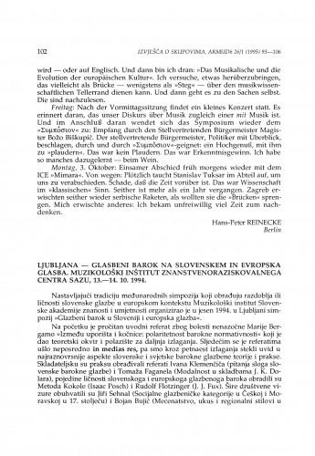 Glasbeni barok na Slovenskem in evropska glasba, Ljubljana, 13.-14. 10. 1994.