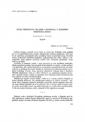 Dvije nepoznate skladbe Lisinskoga u rukopisu Morfidisa-Nisisa